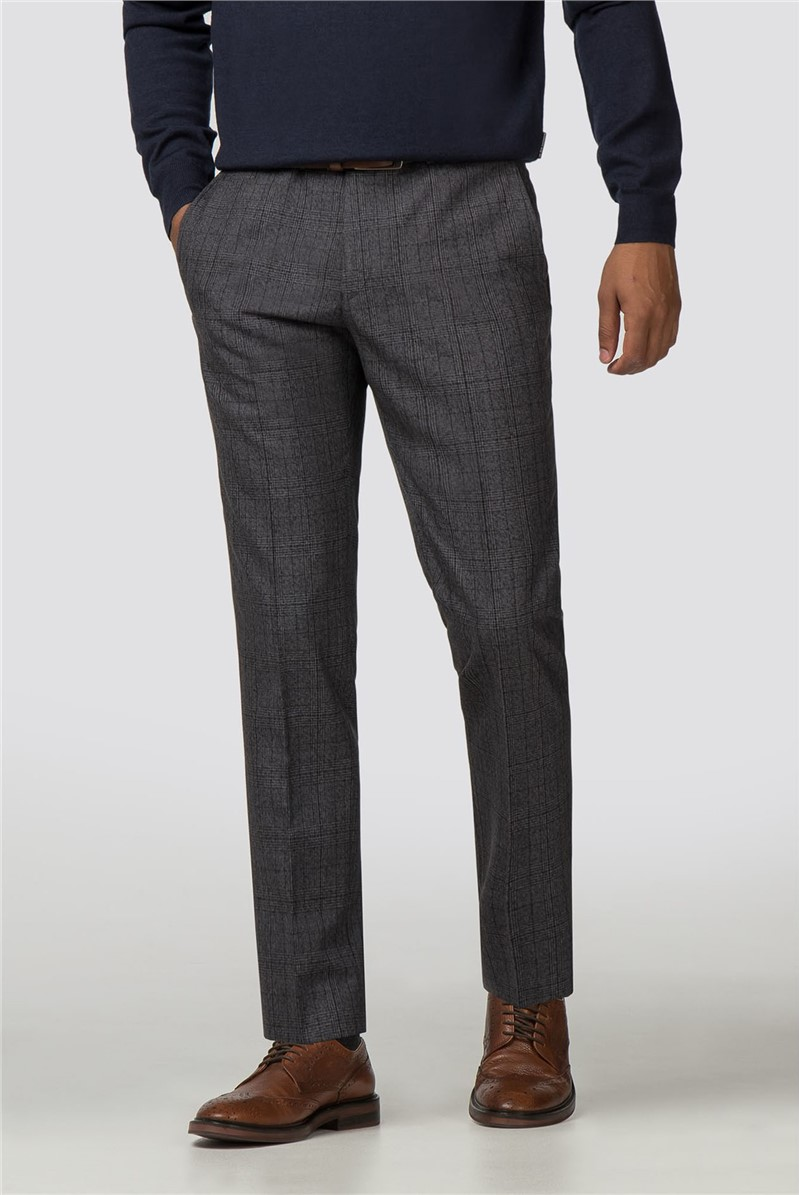 Charcoal Check Slim Fit Trousers