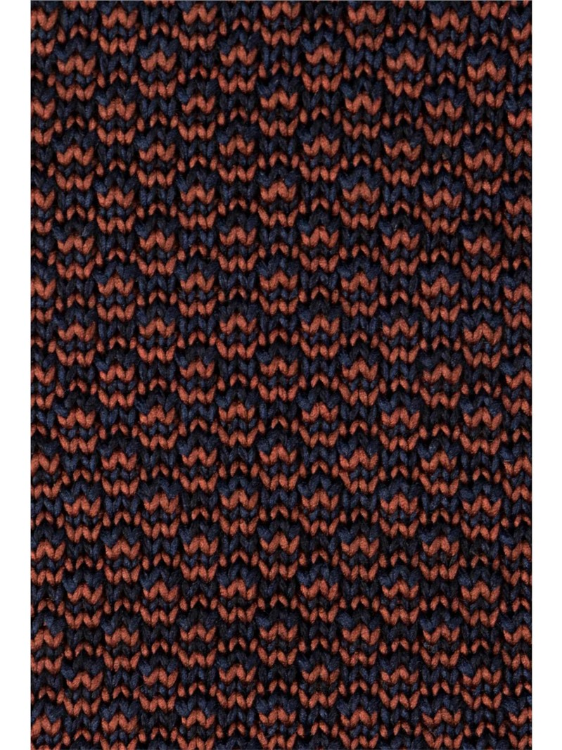 Navy and Orange Melange Knitted Tie