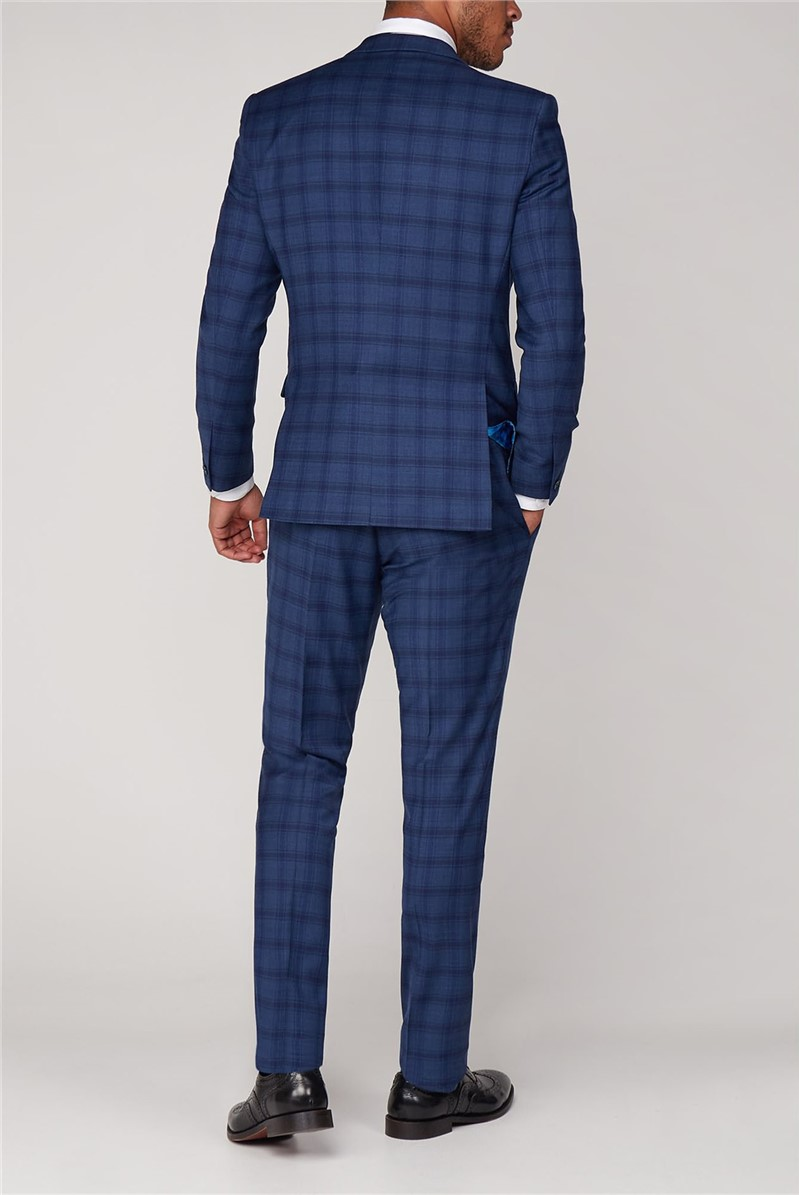 Cartwright Blue Check Skinny Fit Trousers