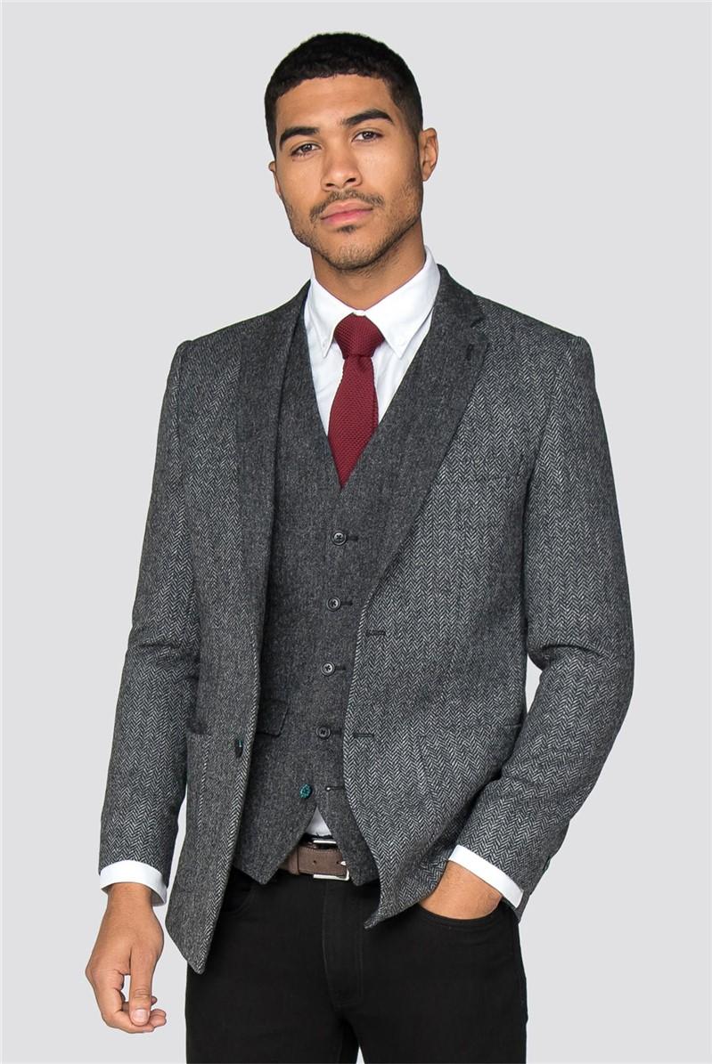 Spencer Grey Herringbone Slim Fit Blazer