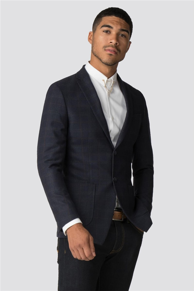 Priestley Blue Brown Check Slim Fit Blazer