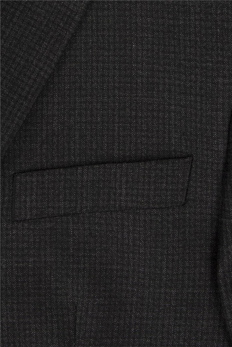 Charcoal Semi Plain Wool Blend Regular Fit Suit Trouser