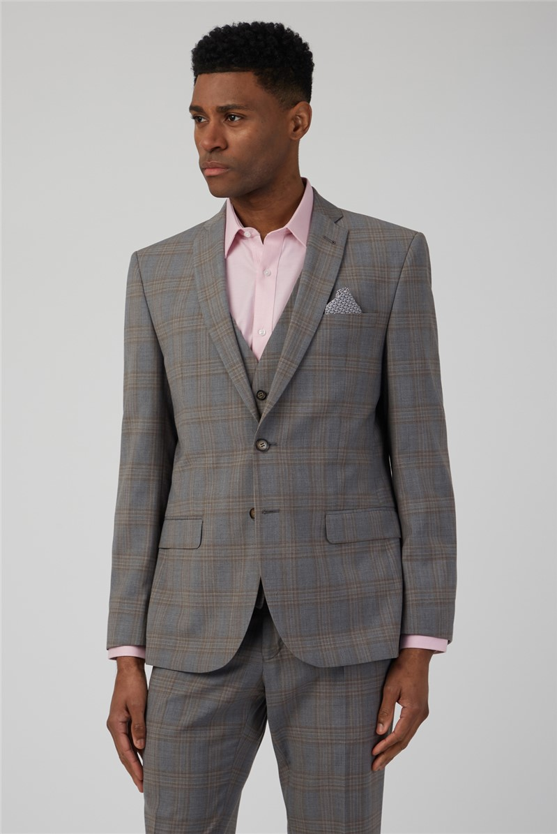 Pale Grey Caramel Check Tailored Jacket