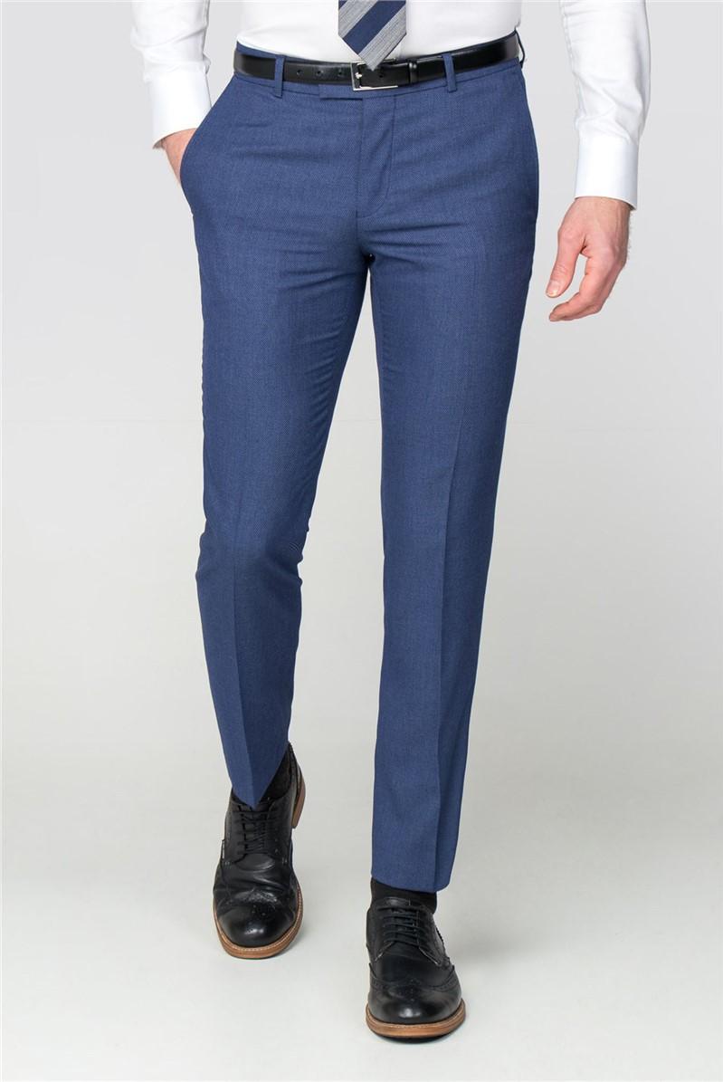 Blue Birdseye Tailored Fit Suit Trouser