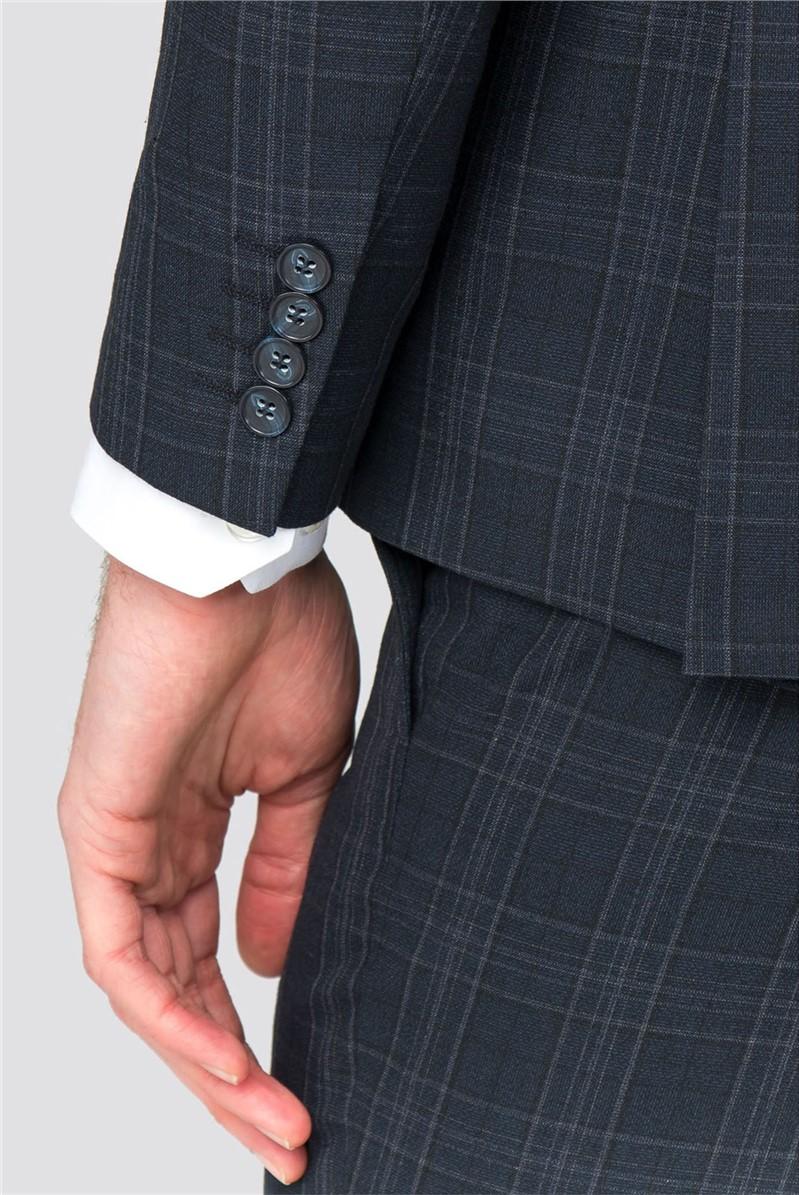 Navy Grey Check Slim Fit Suit