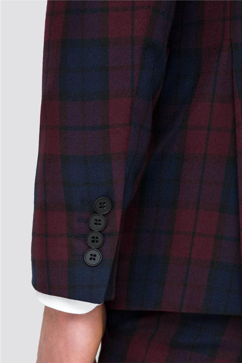 Plum Blue Check Slim Fit Suit