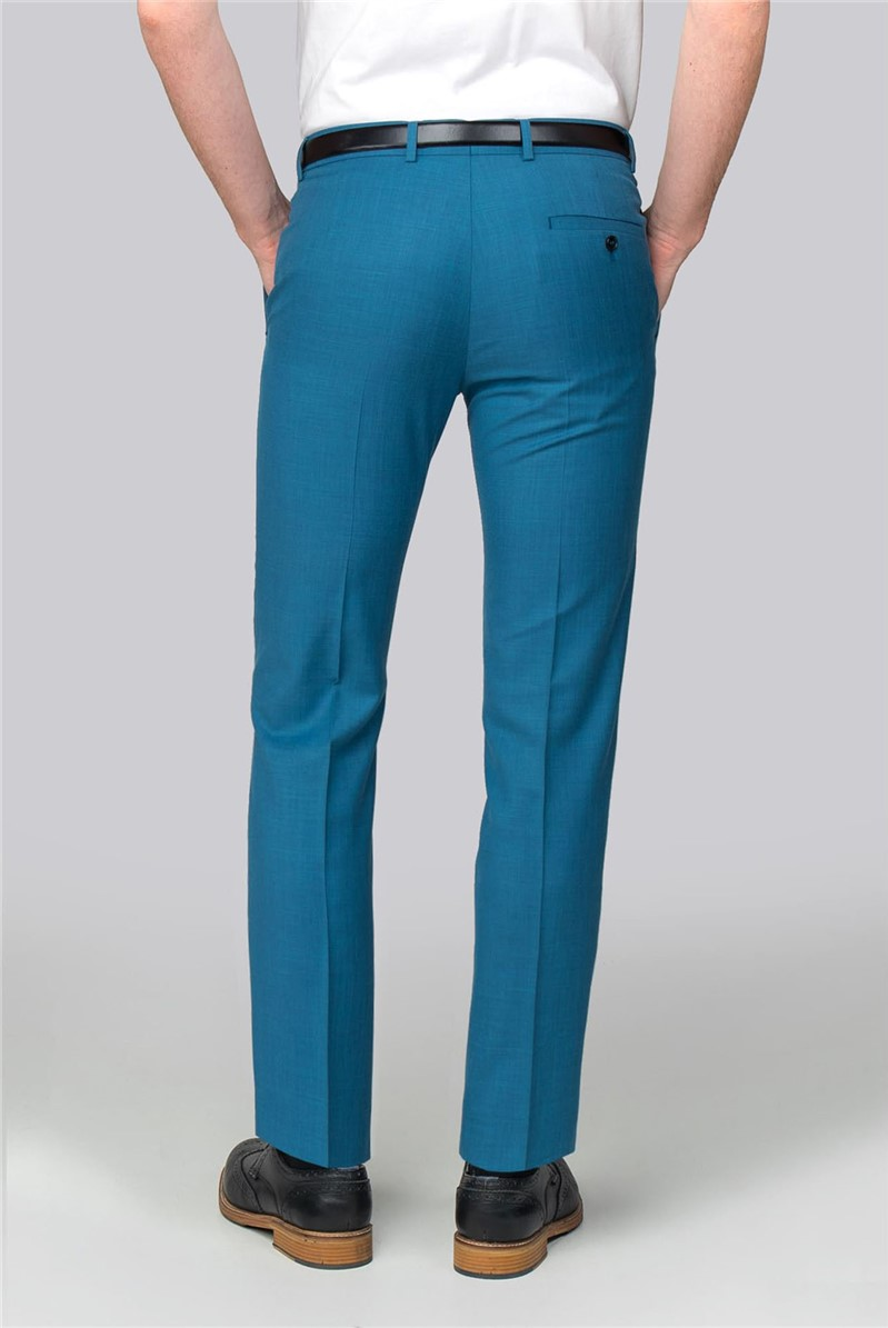 Teal Pick and Pick Slim Fit Suit Trouser