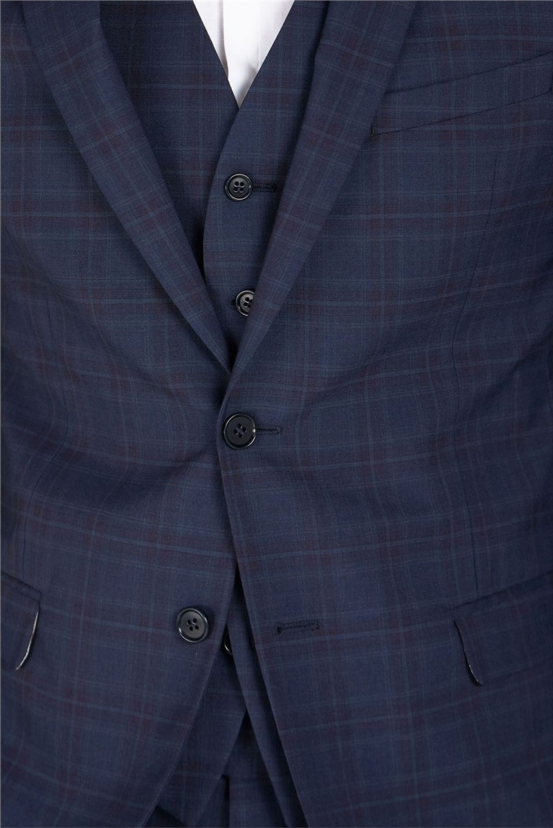 Navy Check Skinny Fit Suit