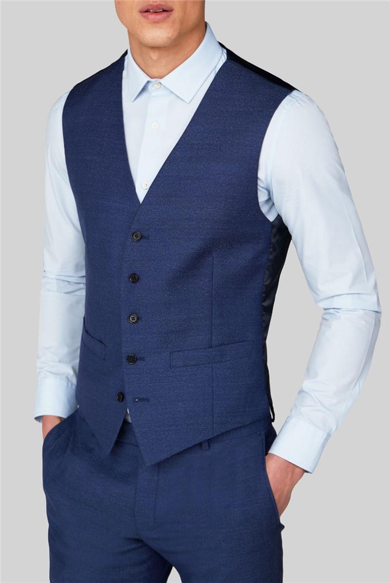 Blue Jaspe Slim Fit Waistcoat