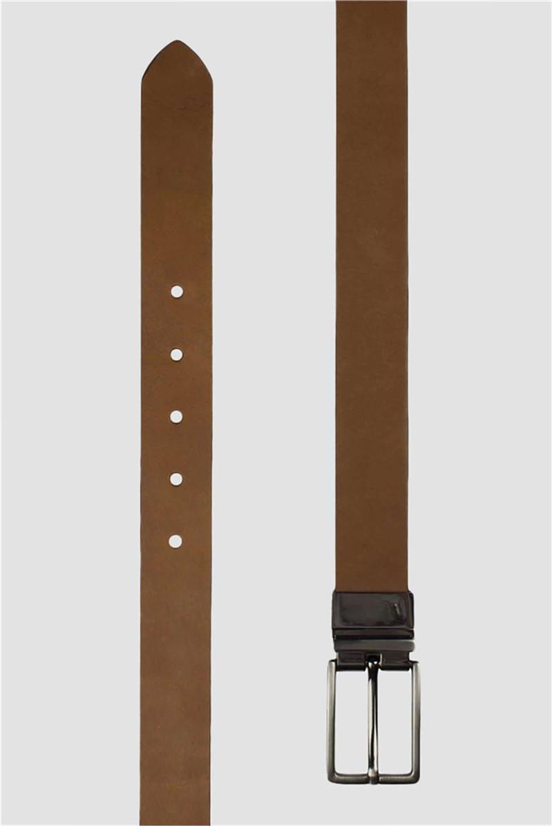 Boxed Leather Tan Black Reversible belt