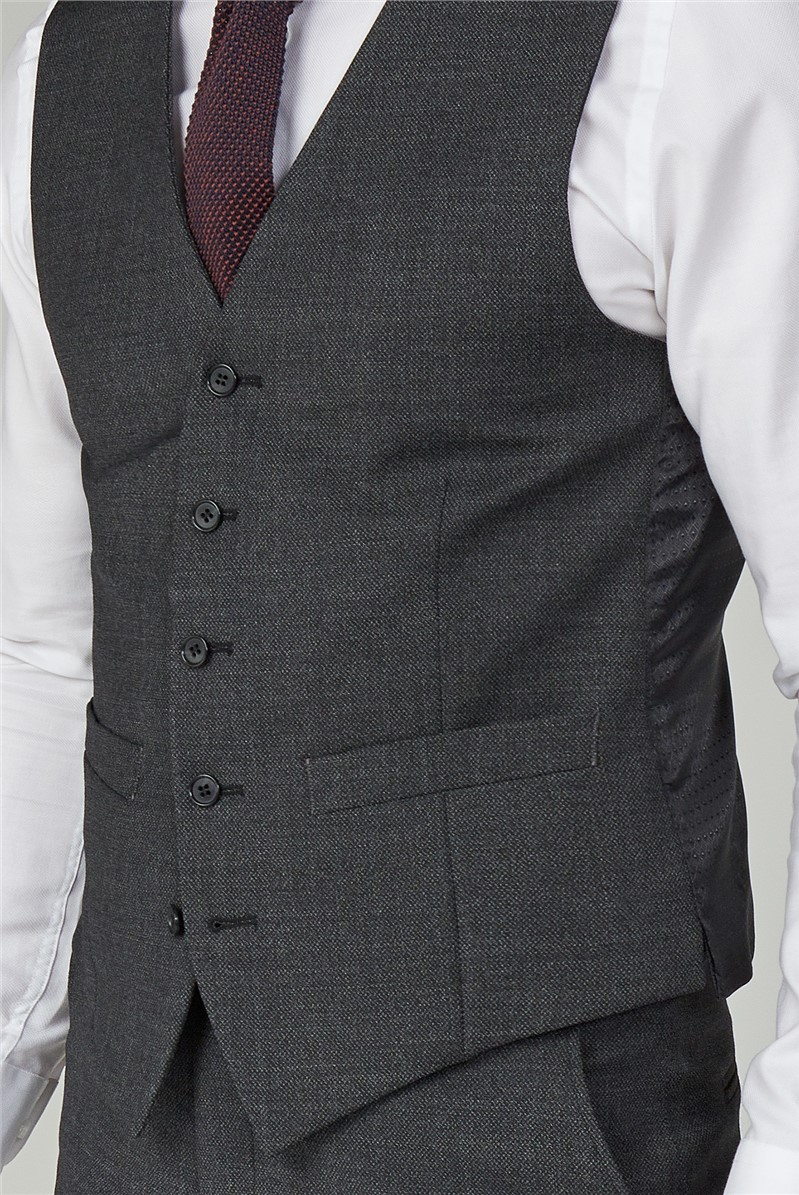 Charcoal Texture Performance Regular Fit Waistcoat