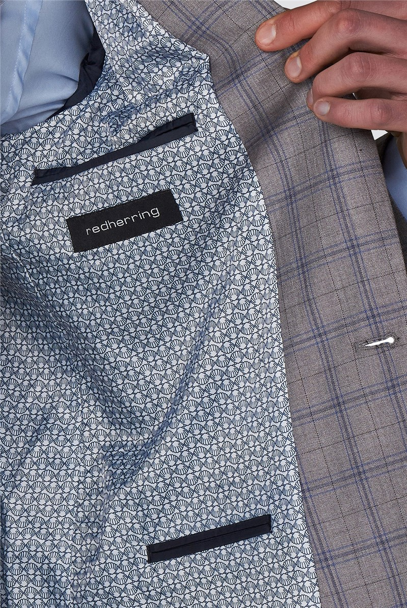Branded Grey & Blue Checked Skinny Fit Suit Trousers