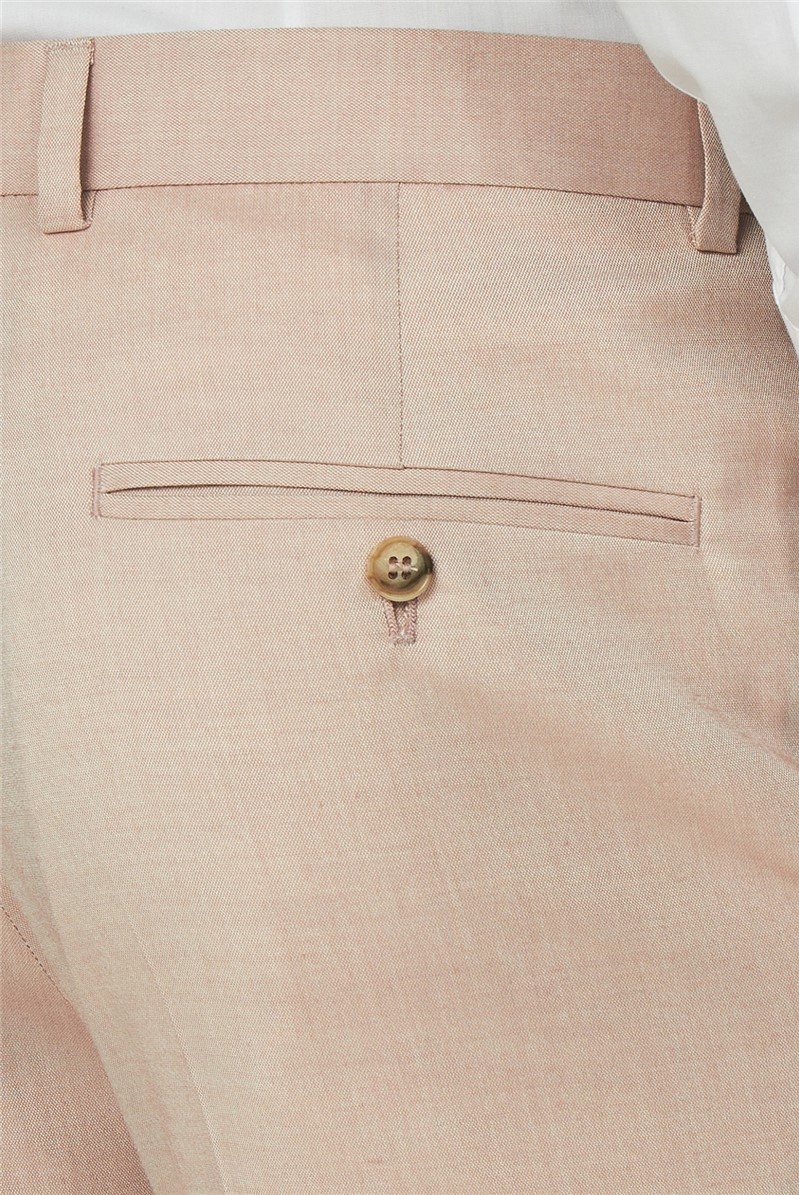 Pale Pink Chambray Slim Fit Suit Trousers