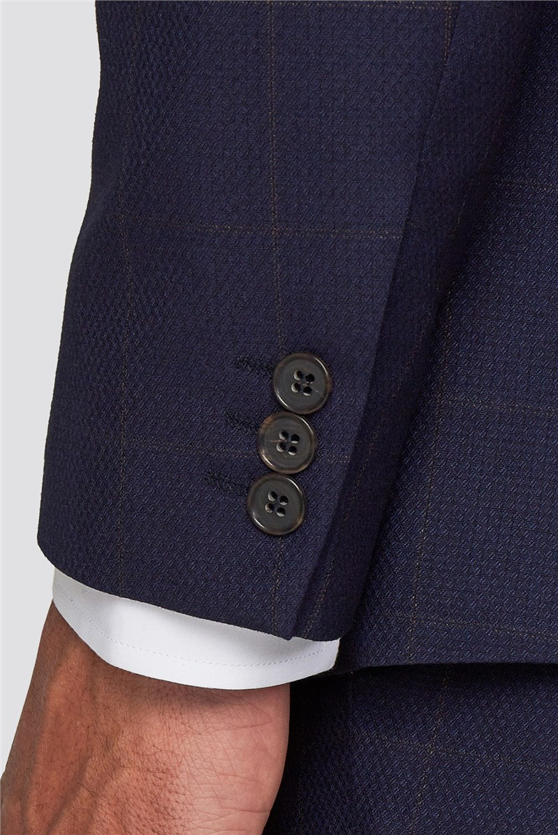Branded Navy & Rust Windowpane Checked Trousers