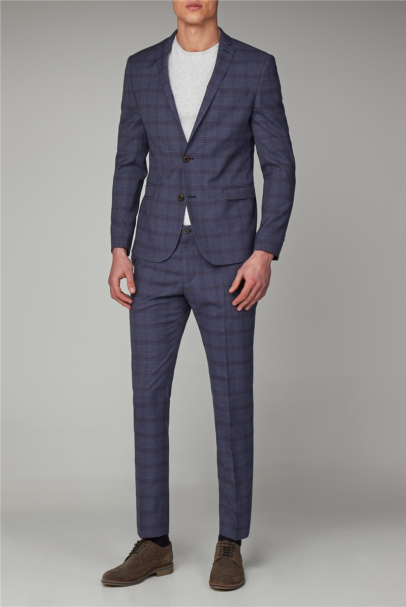 Slate Chambray Check Skinny Fit Suit