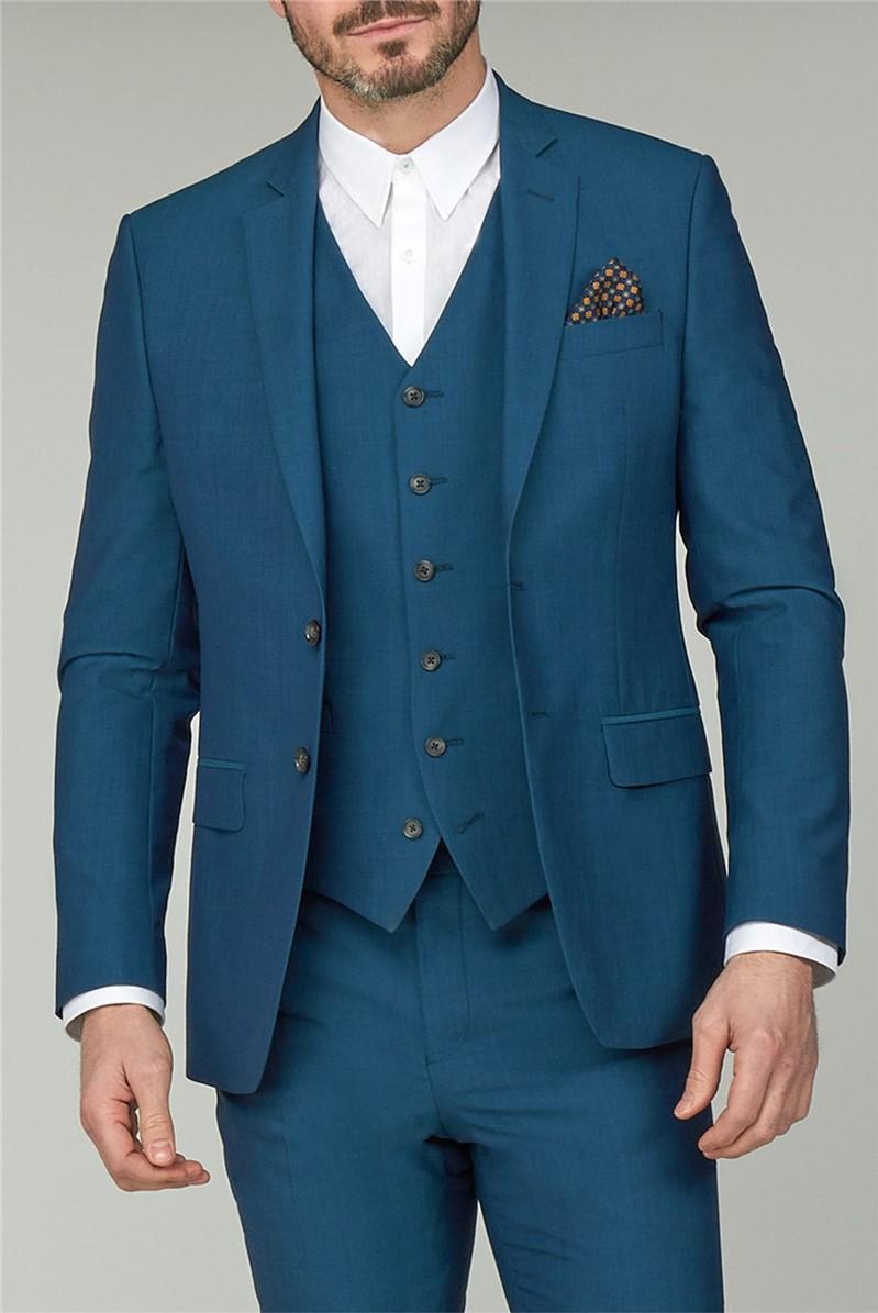 Stvdio Teal Plain Slim Fit Ivy League Suit