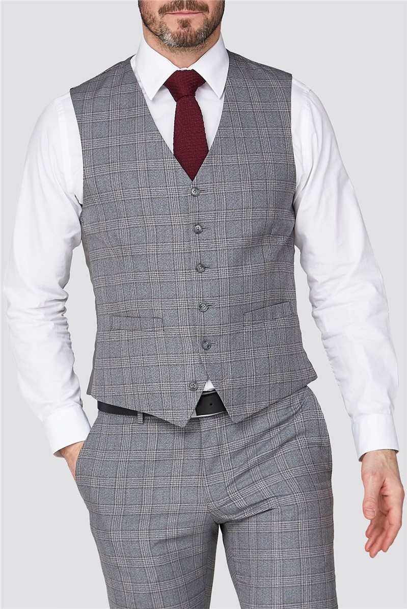 Stvdio Grey Mulberry Check Super Slim Fit Brit Waistcoat