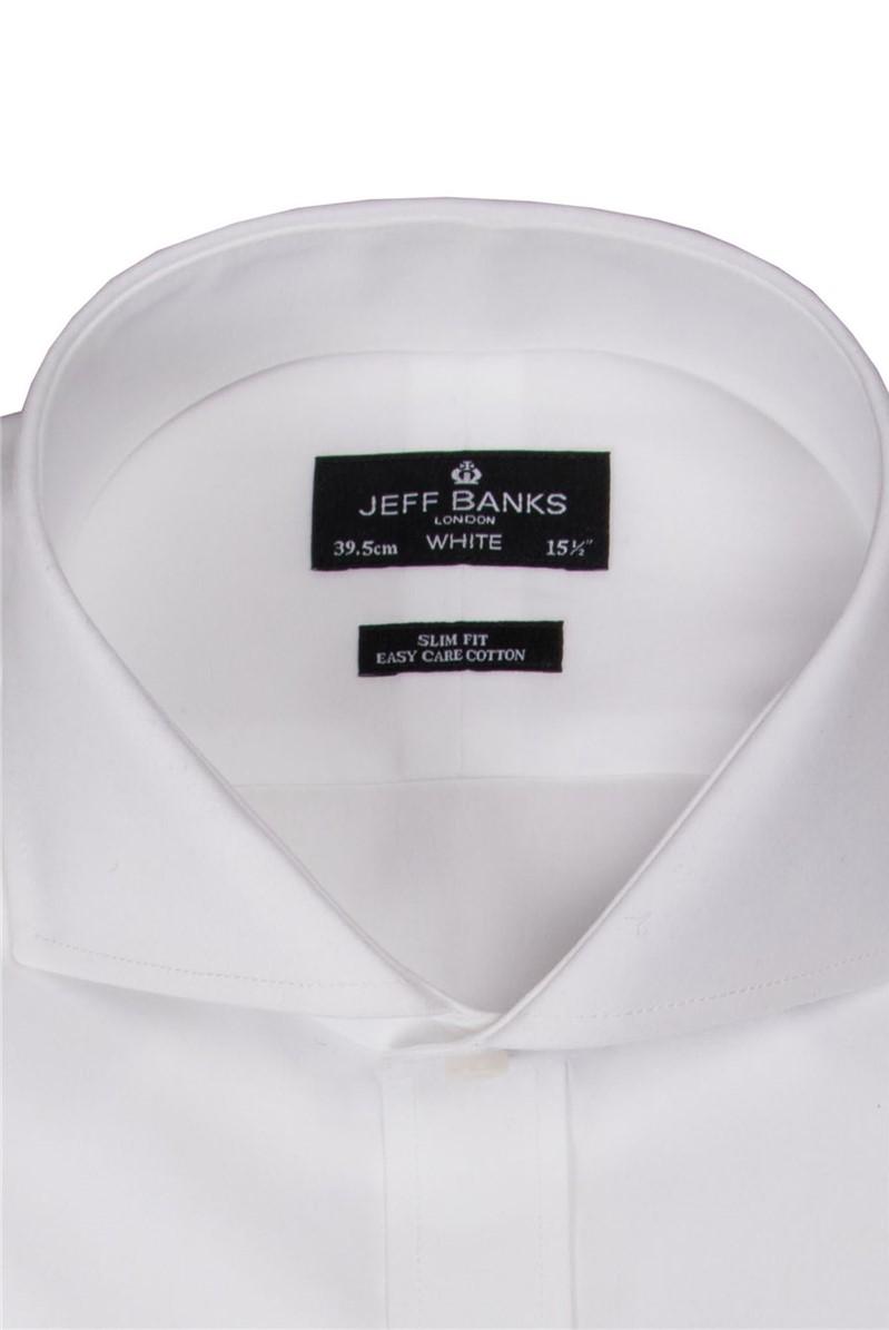 White Single Cuff Cutaway Slim Shirt