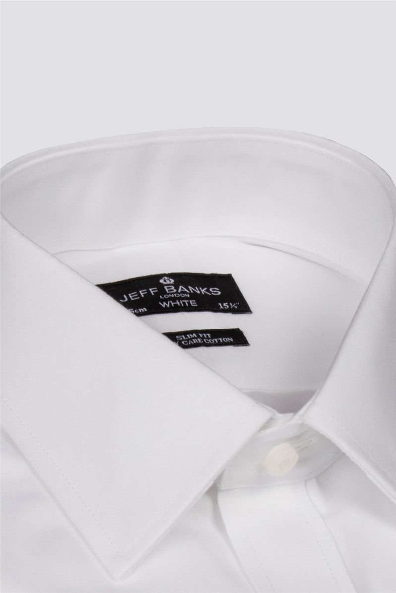 White Double Cuff Half Cutaway Slim Shirt