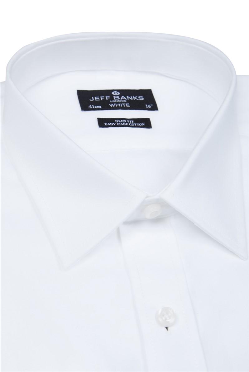 White Single Cuff Forward Point Slim Shirt