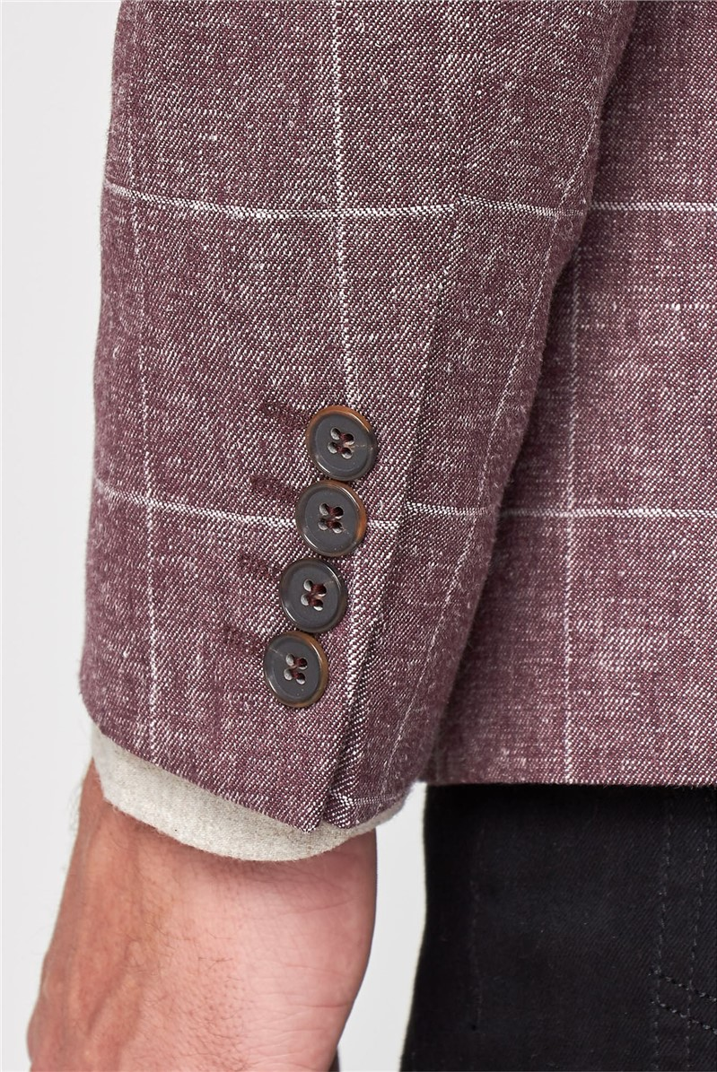 Linen Burgundy Windowpane Tailored Fit Jacket