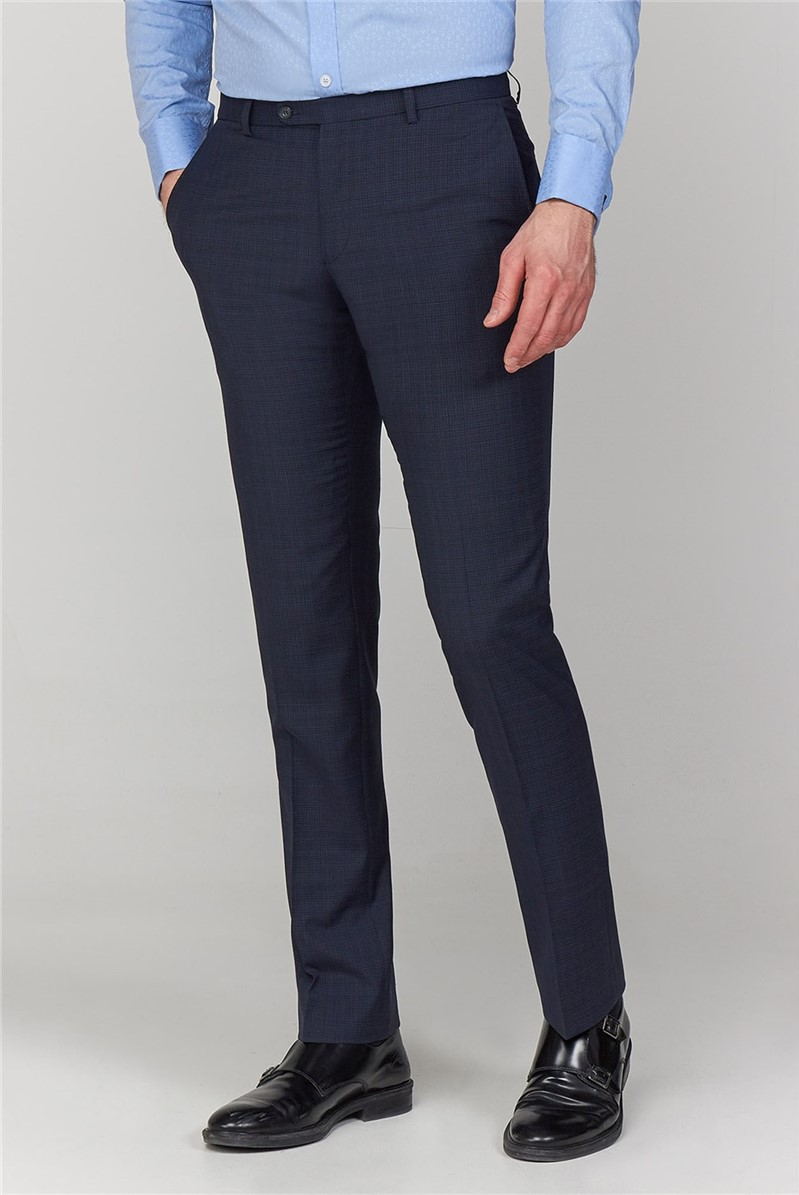 Navy Micro Check Tailored Fit Trouser