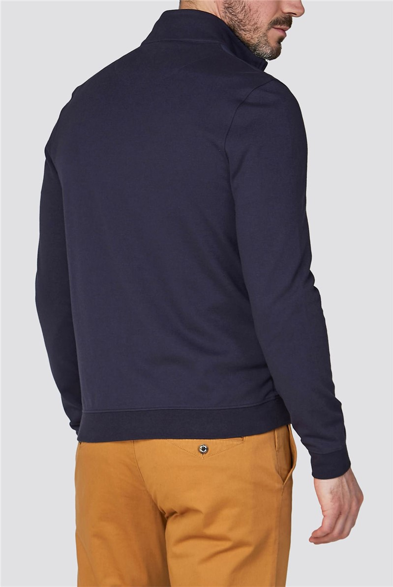 Blue Jersey Zip Through Jacket