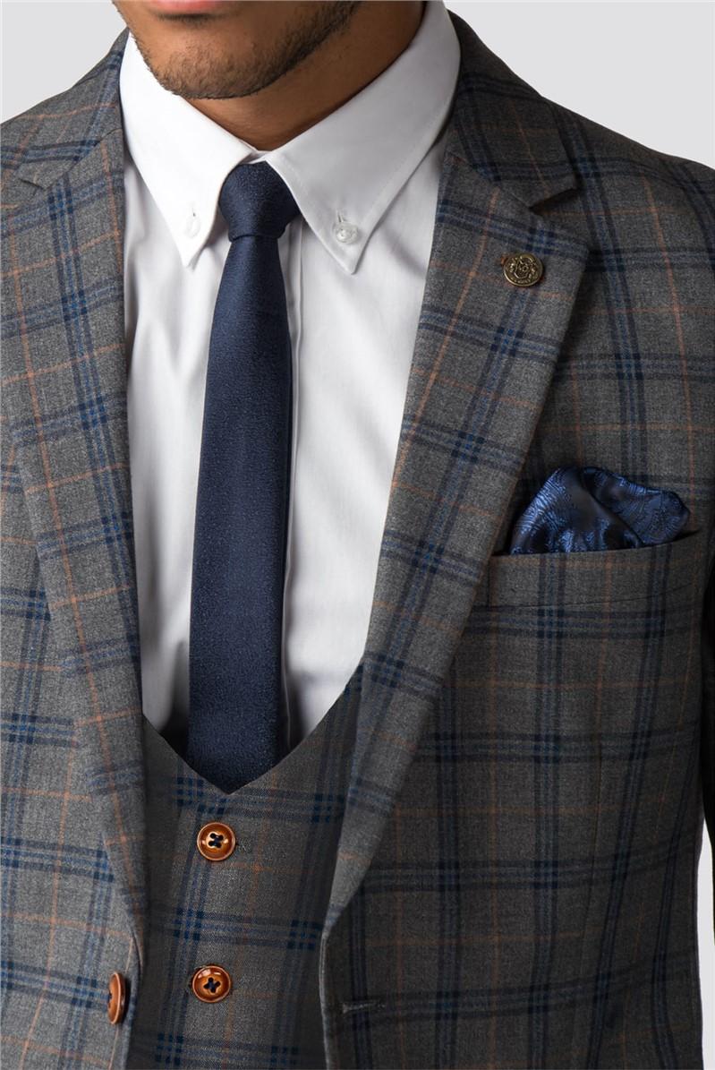 Logan Grey Blue Check Double Breasted Waistcoat