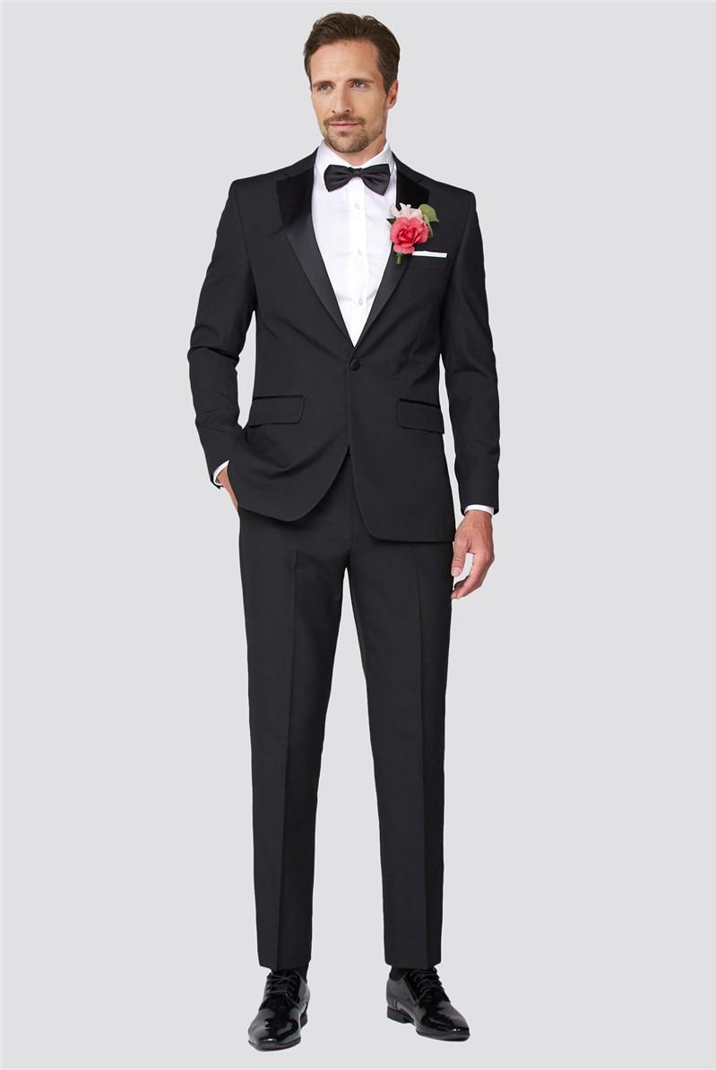 Black Regular Fit Tuxedo Suit