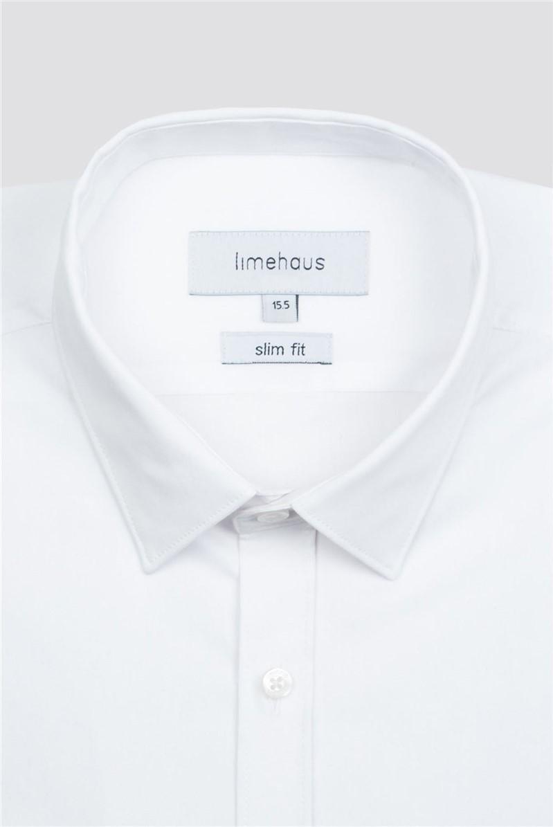 White Stretch Poplin Single Cuff Shirt