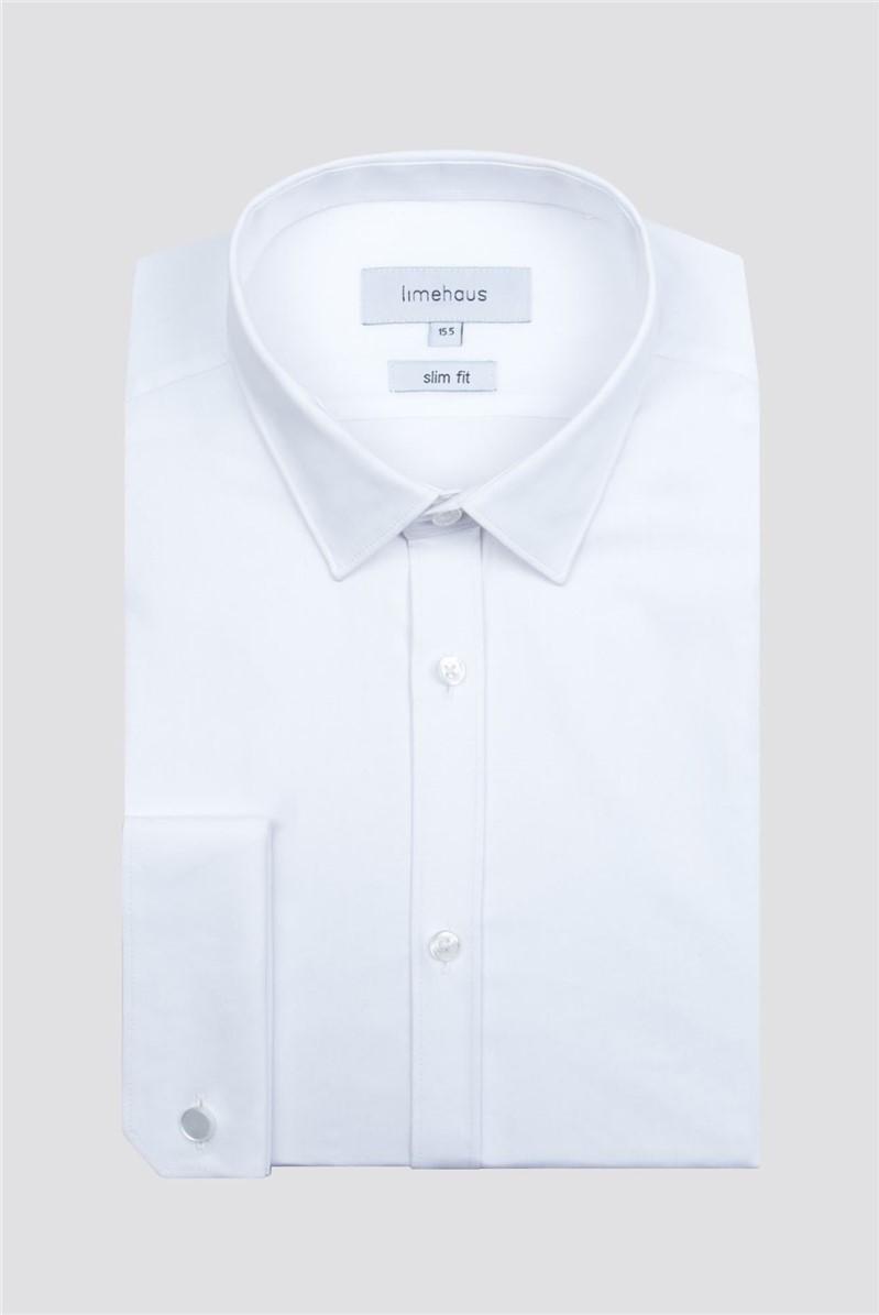 White Stretch Poplin Double Cuff Shirt