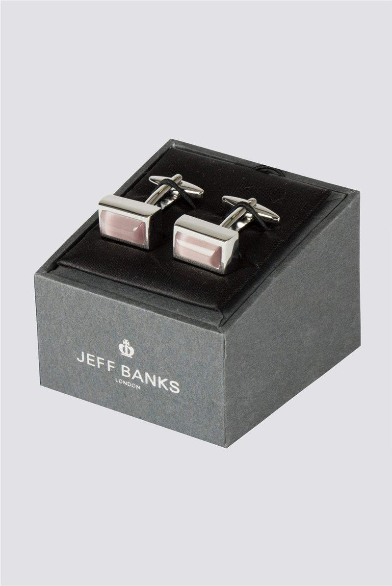 Pink Rectangle Stone Cufflink