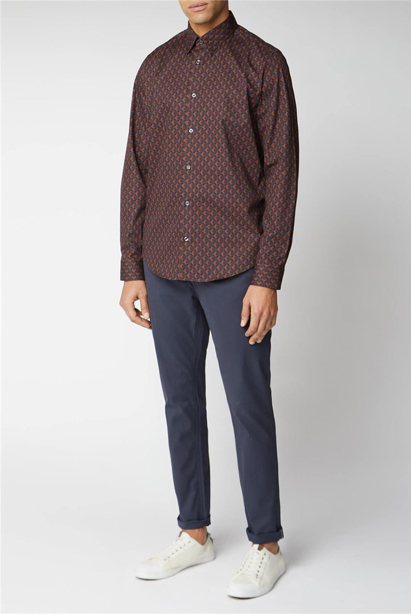 Long Sleeve Printed Twill Shirt