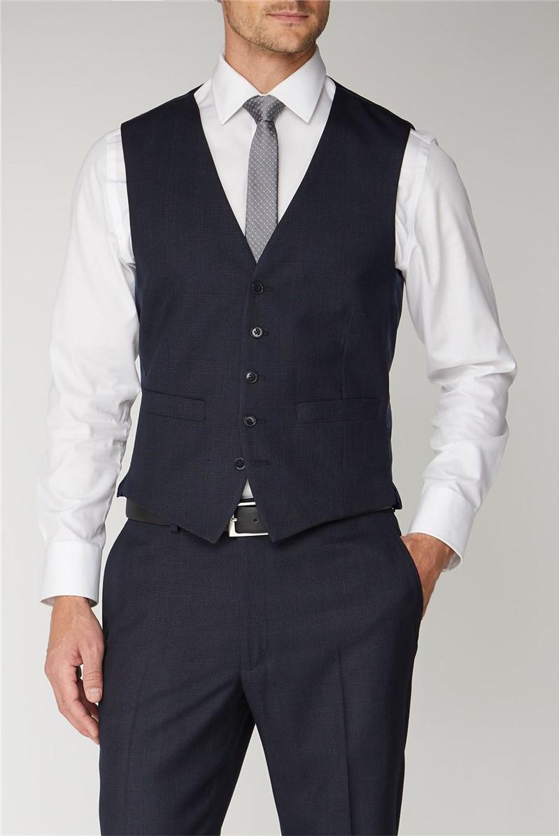 Navy Check Regular Fit Waistcoat