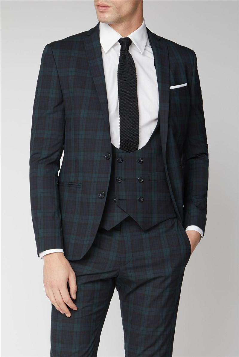 Navy Green Tartan Skinny Suit