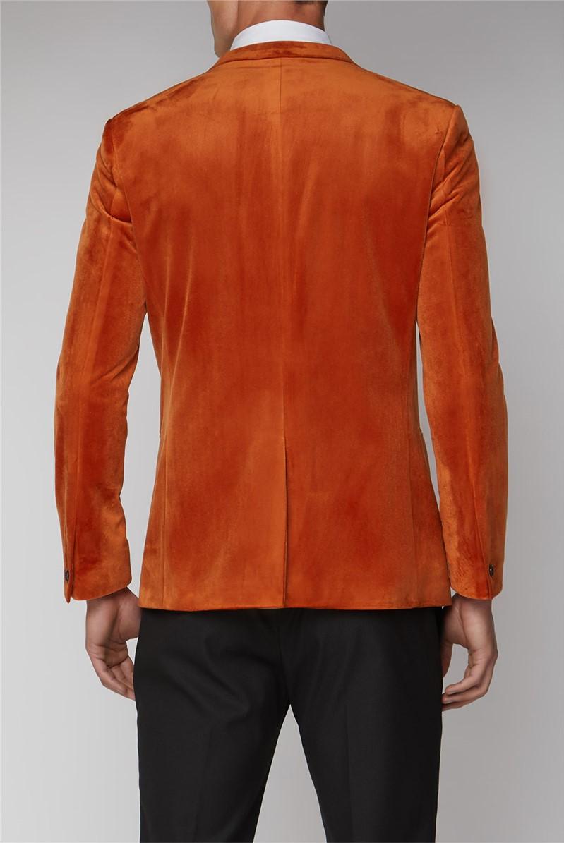 Burnt Orange Slim Velvet Jacket