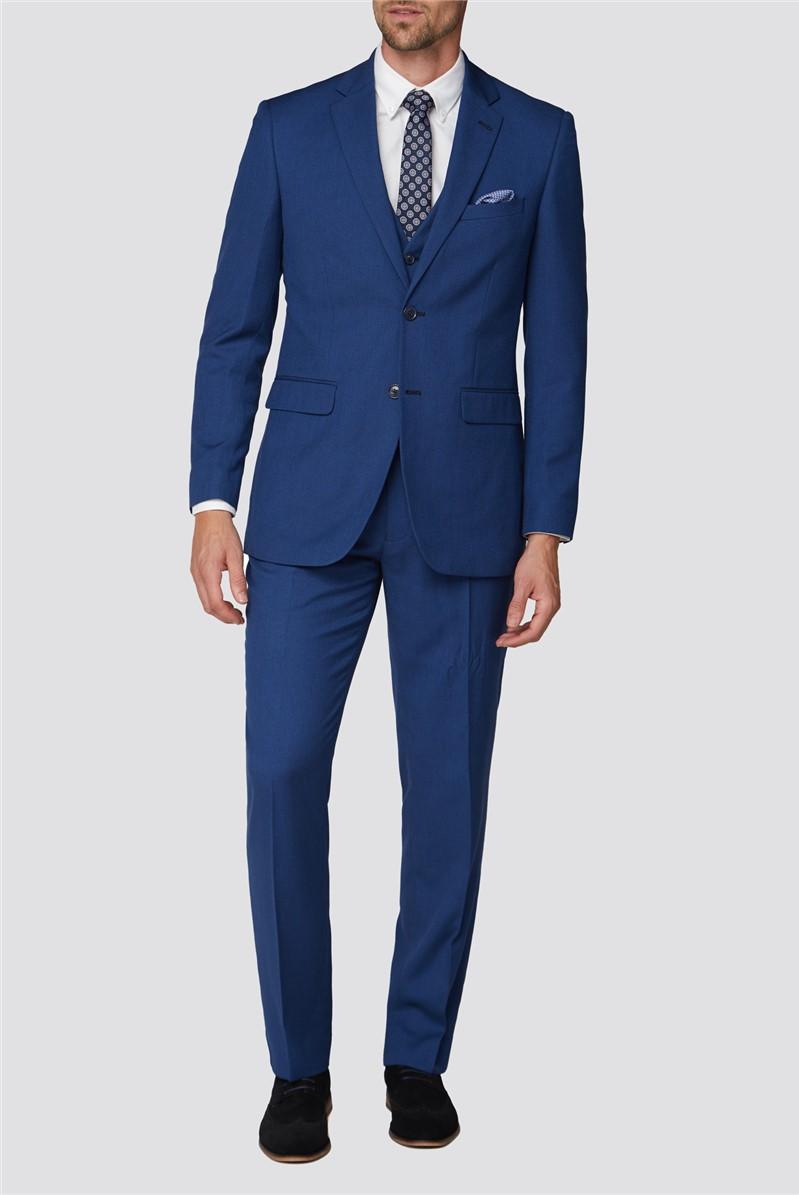 Blue Semi Plain Regular Fit Suit