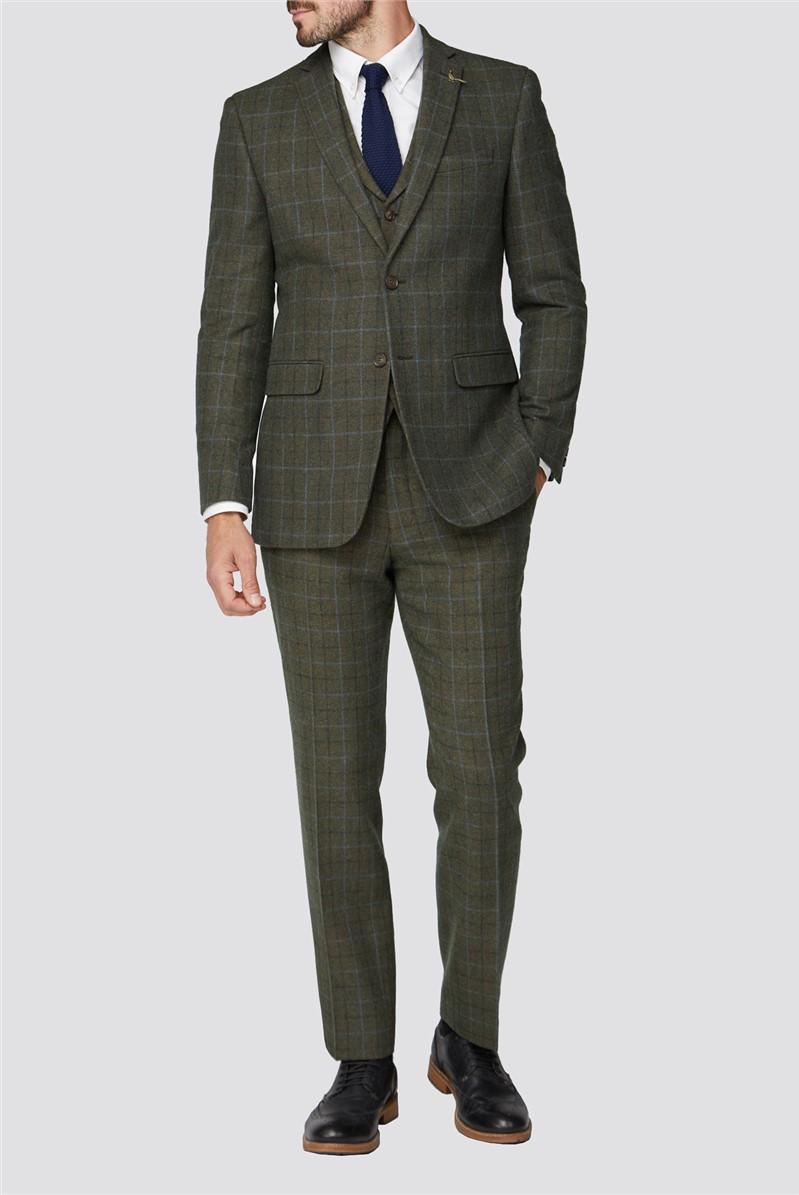 Green Heritage Check Tweed Regular Fit Suit Trouser