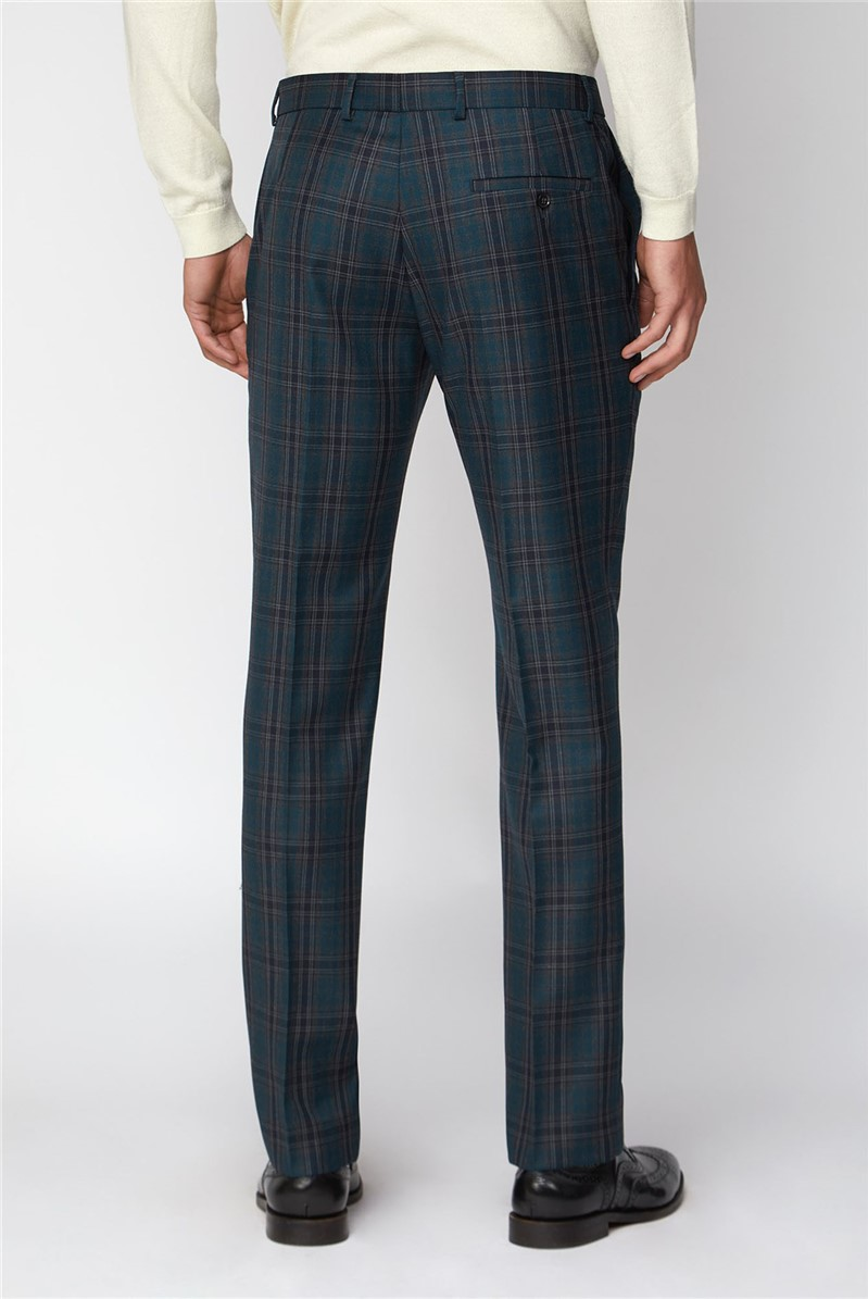 Charcoal Teal Check Slim Fit Double Breasted Suit