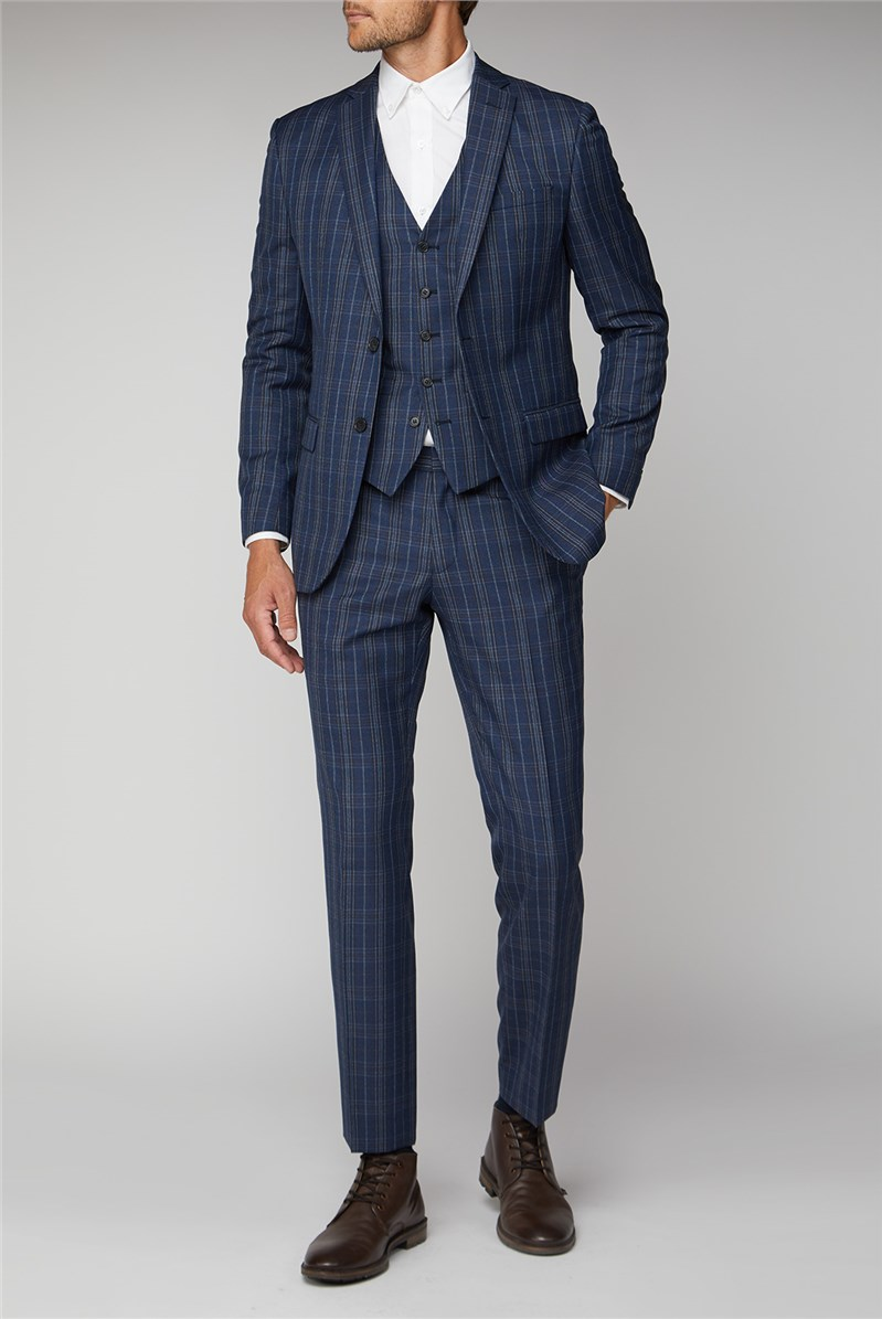 Navy Bold Check Tailored Fit Suit