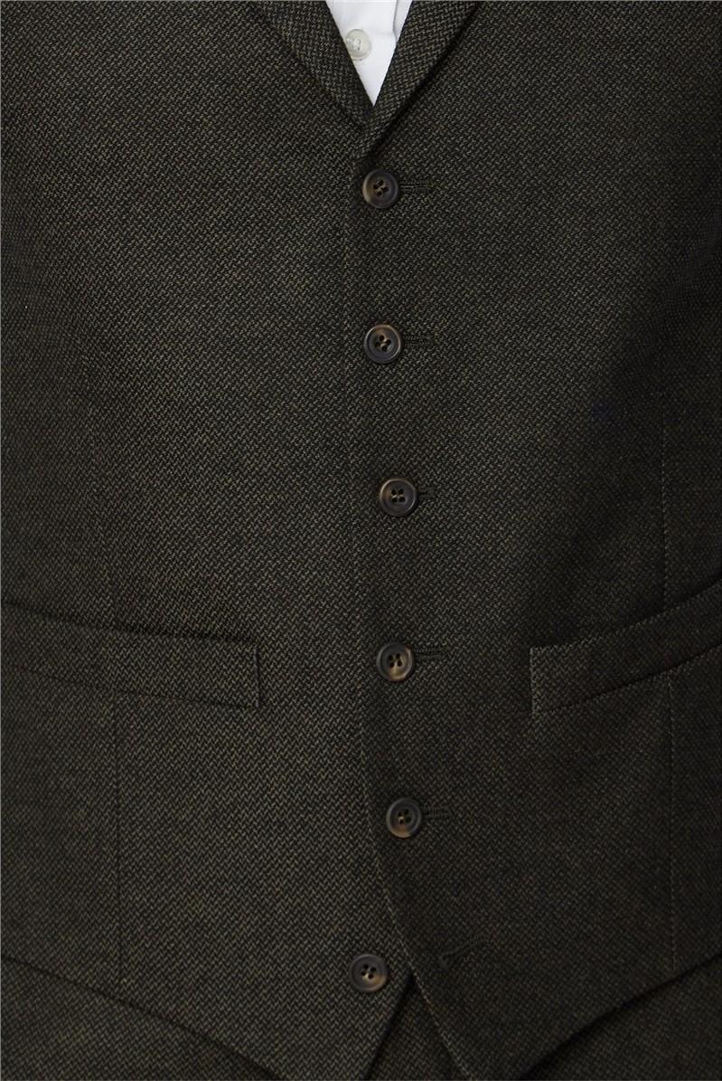 Green Textured Tailored Tweed Suit