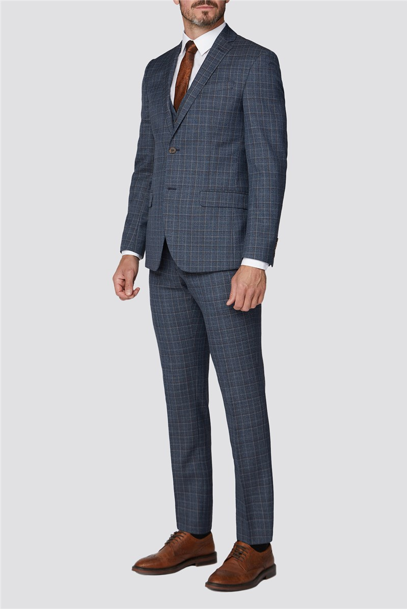Blue Broken Check Tailored Fit Suit