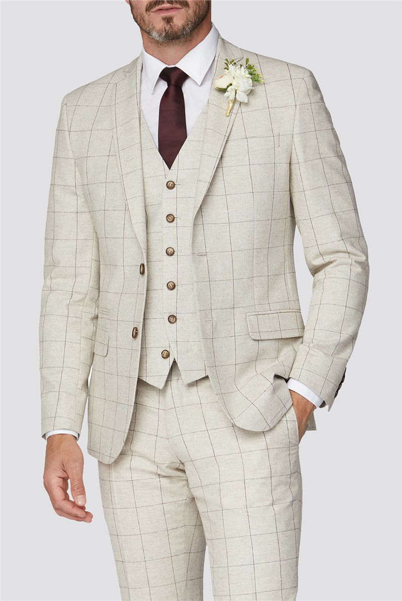 Taupe Berry Check Tweed Tailored Fit Suit