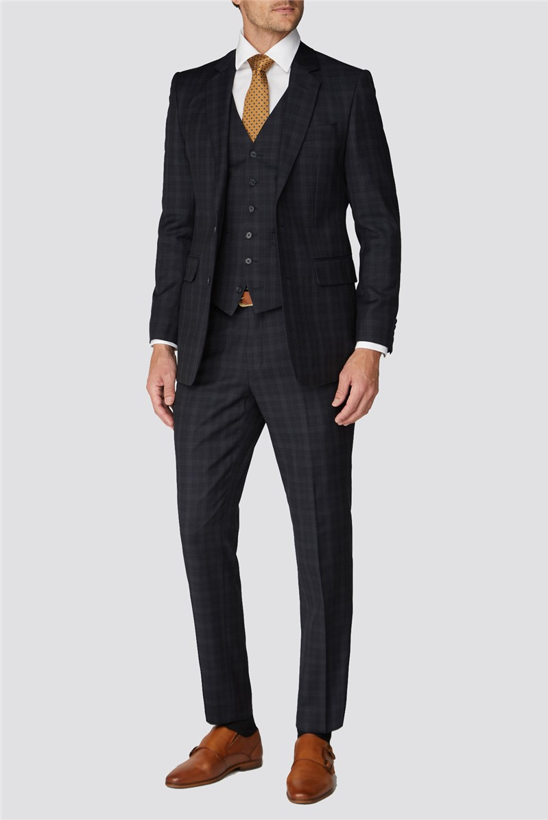Branded Dark Blue Checkered Tailor Fit Suit Trousers