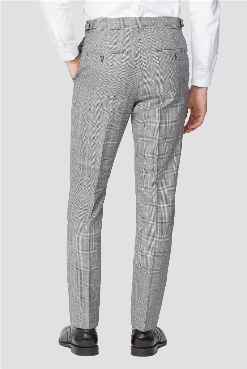 Branded Blue Prince of Wales Checked Tailor Fit Suit Trousers