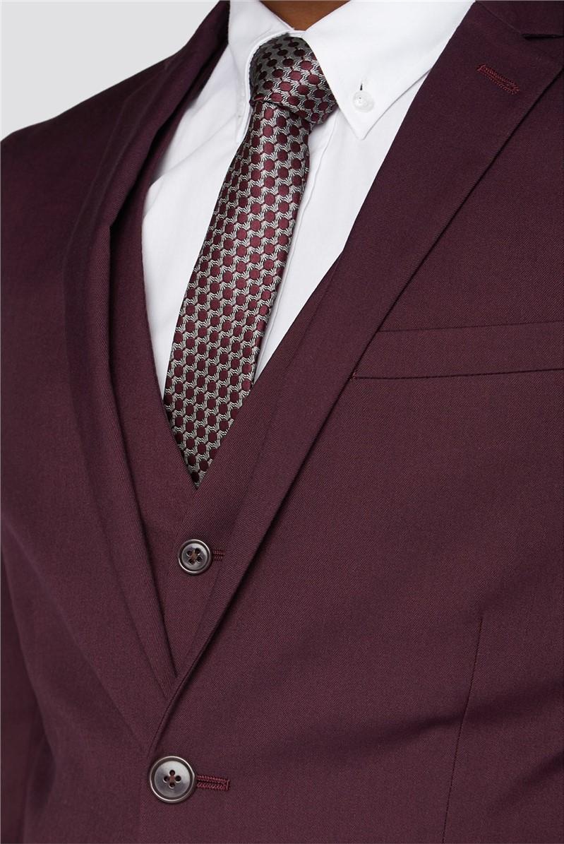 Burgundy Plain Slim Fit Suit Trouser