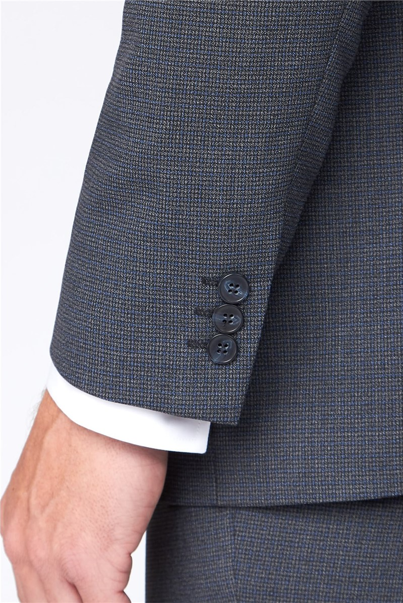Grey and Blue Micro Check Suit