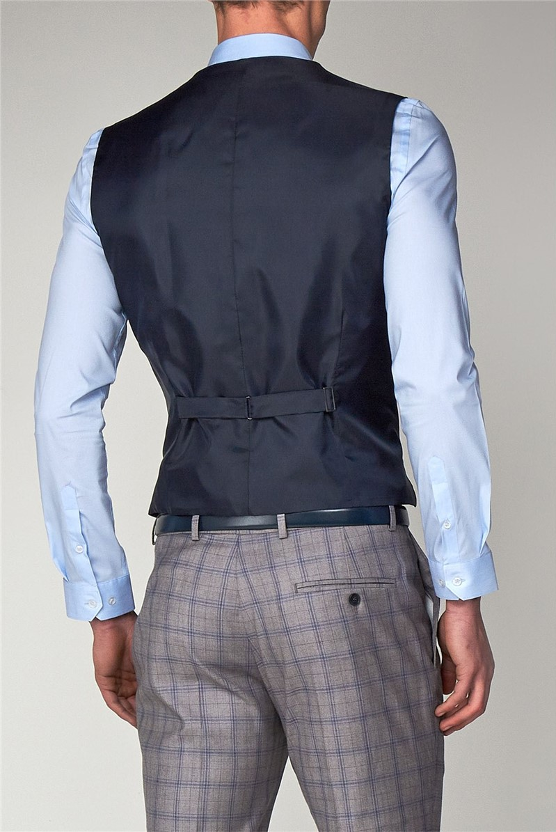 Grey with Blue Overcheck Slim fit Waistcoat