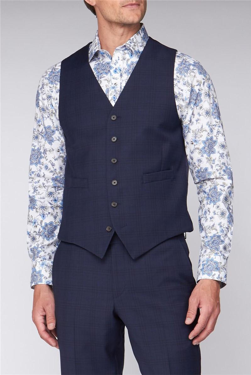 Blue Windowpane Check Regular Fit Travel Waistcoat