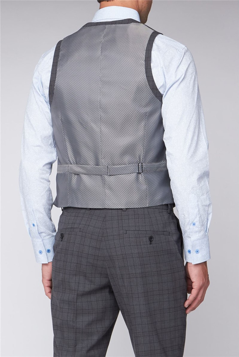 Grey Green Check Regular Fit Travel Waistcoat